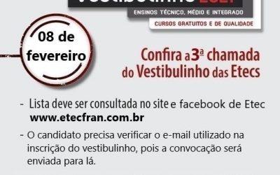 3° chamada do Vestibulinho da Etec 1º semestre de 2021 para o Ensino Médio.