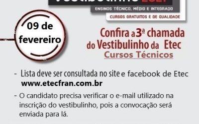 3° chamada do Vestibulinho da Etec 1º semestre de 2021 para os Cursos Técnicos.